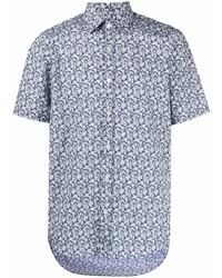 Canali Floral Print Short Sleeved Shirt