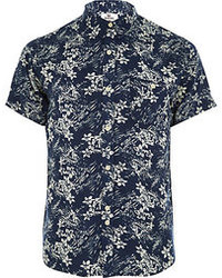 Navy bellfield floral print shirt medium 74888