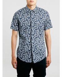 Navy floral short sleeve dress shirt medium 74889