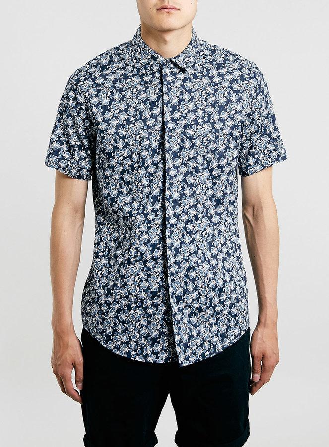 5c7c43581ee ... Topman Navy Floral Short Sleeve Dress Shirt ...