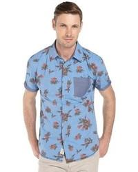 Fresh Navy Flowers Short Sleeve Button Front Shirt