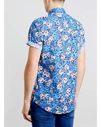 e050df441d9 ... Topman Blue Floral Short Sleeve Shirt ...