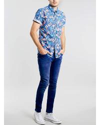 717337fa81a ... Topman Blue Floral Short Sleeve Shirt