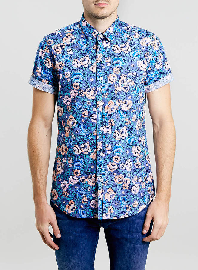 Topman blue floral short sleeve shirt where to buy how for Blue floral shirt mens