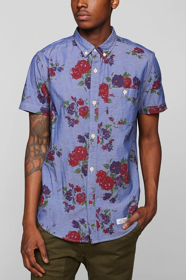 Urban outfitters cpo chambray floral button down shirt for White short sleeve button down shirts for men