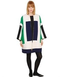 Gianluca capannolo mina color block stretch wool coat medium 82417