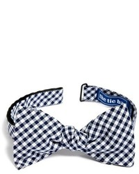 Navy and White Gingham Bow-tie