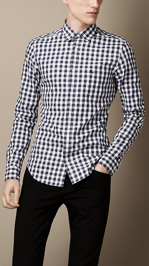 Navy And White Gingham Dress Shirt Burberry Button Down
