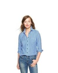 Gap shrunken boyfriend gingham flannel shirt medium 556136