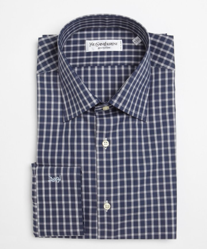 Navy And White Gingham Dress Shirt Yves Saint Laurent