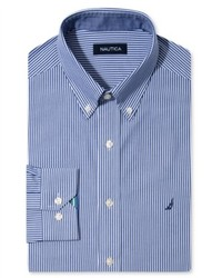Nautica Dress Shirt Navy And White Stripe Long Sleeve Shirt
