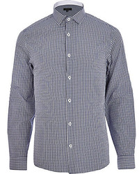 River Island Navy Blue Gingham Long Sleeve Shirt