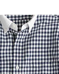 Slim secret wash white collar shirt in classic navy gingham medium 118019