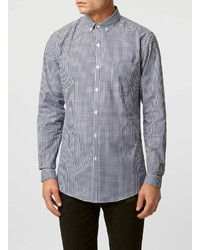 Topman Navy Gingham Button Down Long Sleeve Smart Shirt