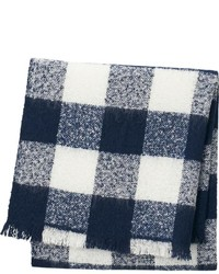 Navy and White Gingham Scarf