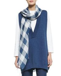 Eskandar large check scarf denim blue medium 371950