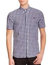 Navy and White Gingham Short Sleeve Shirt