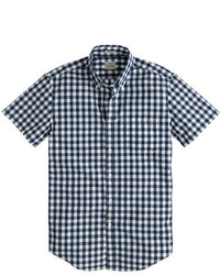 Tall secret wash short sleeve shirt in vintage navy gingham medium 295801
