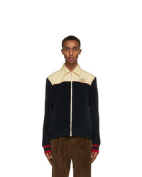 Gucci Navy Velour Zip Up Jacket