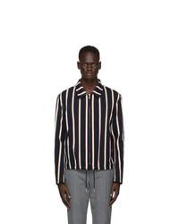 Thom Browne Navy Velvet Stripe Golf Jacket