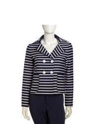Horizontal Navy And White Wool Women's BlazerBlack Striped nmNw08