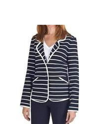 Pendleton Stripes Ahoy Blazer Double Knit Cotton Midnight Navywhite