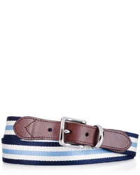 Navy and White Horizontal Striped Canvas Belt