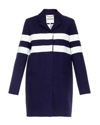 Navy and White Horizontal Striped Coat