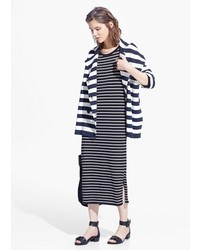 Mango Striped Knit Coat