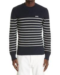 AMI Alexandre Mattiussi Ami Stripe Merino Wool Blend Sweater