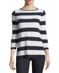 Cashmere collection cashmere blend metallic striped sweater medium 7014592