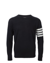 Thom Browne Crewneck Pullover With 4 Bar Stripe In Navy Merino