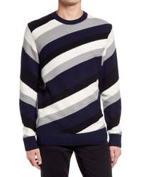 KARL LAGERFELD PARIS Diagonal Stripe Crewneck Sweater