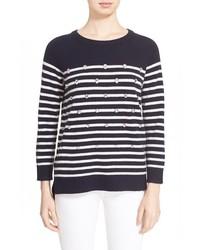 Kate Spade New York Embellished Stripe Merino Wool Sweater