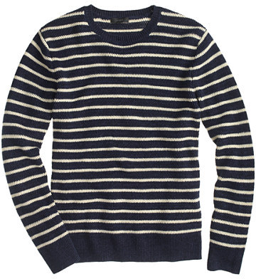 J.Crew Linen Cotton Sweater In Nautical Stripe | Where to buy ...