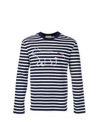 MAISON KITSUNÉ Maison Kitsun Striped Printed Sweater