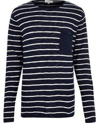 River Island Navy Stripe Pocket Long Sleeve T Shirt