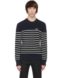AMI Alexandre Mattiussi Navy White Merino Breton Stripe Sweater