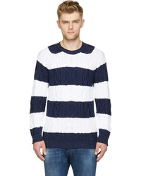 DSQUARED2 Navy White Striped Cable Knit Losange Sweater