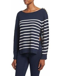 Sailor stripe pullover sweater w silk back navy medium 7014587