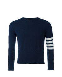 Thom Browne Short Crewneck Pullover With 4 Bar Stripe In Navy Blue Cashmere