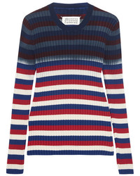 Striped ribbed cotton sweater navy medium 3649040