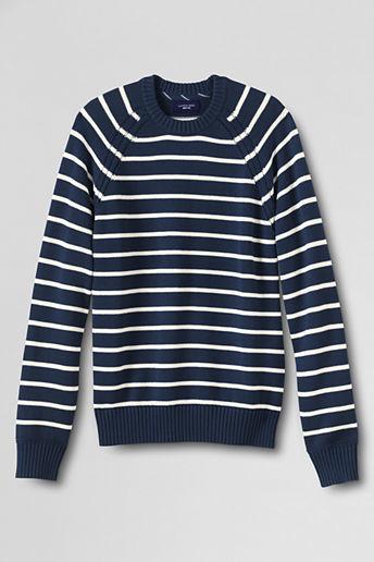 Classic Tall Fit Breton Stripe Cotton Drifter Crewneck Sweater ...