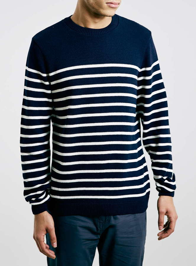 Topman Navy Striped Crew Neck Sweater | Where to buy & how to wear