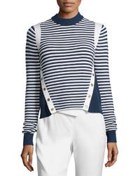 Veronica Beard Striped Ottoman Mock Neck Sweater Navywhite
