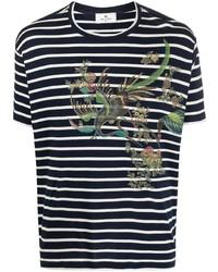 Etro Graphic Print Striped T Shirt