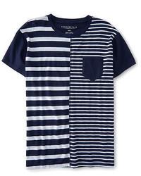 Aeropostale Ropostale Stripe Mix Pocket Tee Shirt Classic Navy