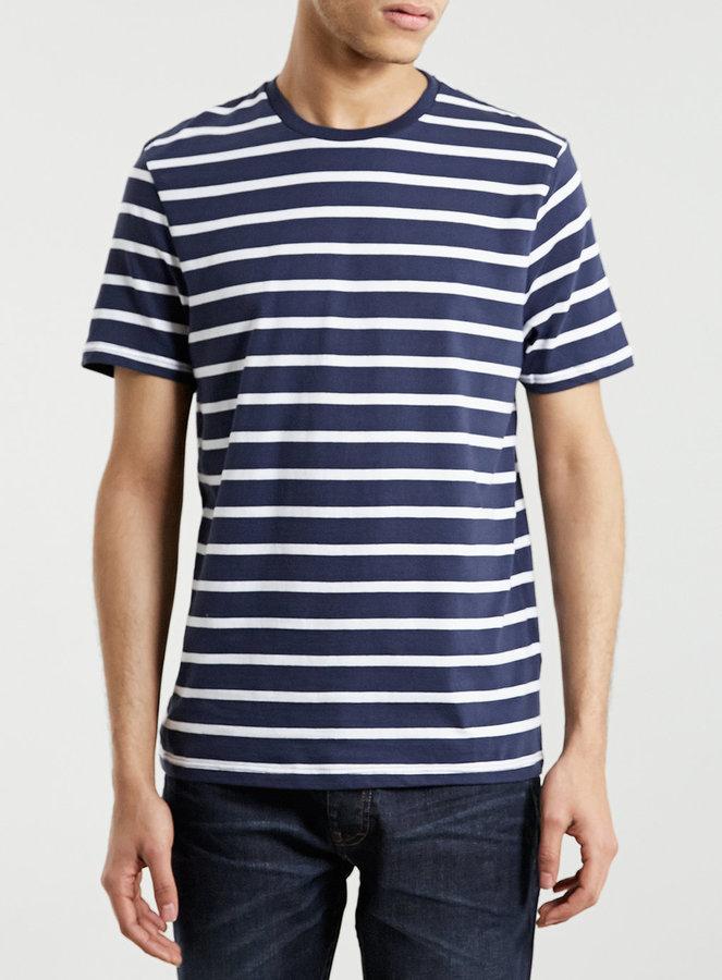 b04f3813 Topman Slim Fit Navy Stripe T Shirt, $20   Topman   Lookastic.com