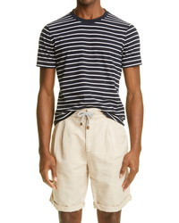 Brunello Cucinelli Stripe Slim Fit Cotton T Shirt