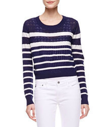 Navy and White Horizontal Striped Cropped Sweater